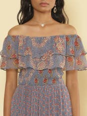 Light Purple Floral Off Shoulder Maxi