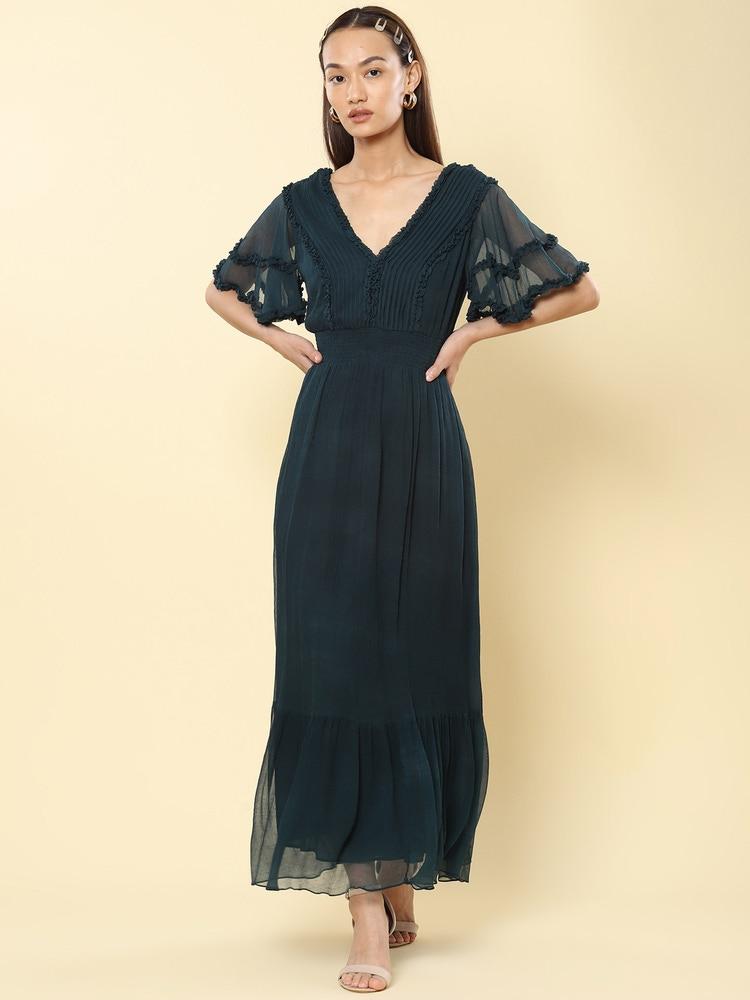 Teal Ruffle Midi Dress