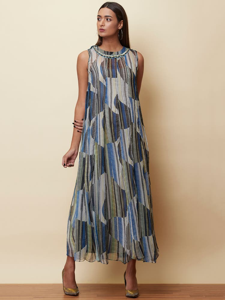 Blue Striped Long Dress