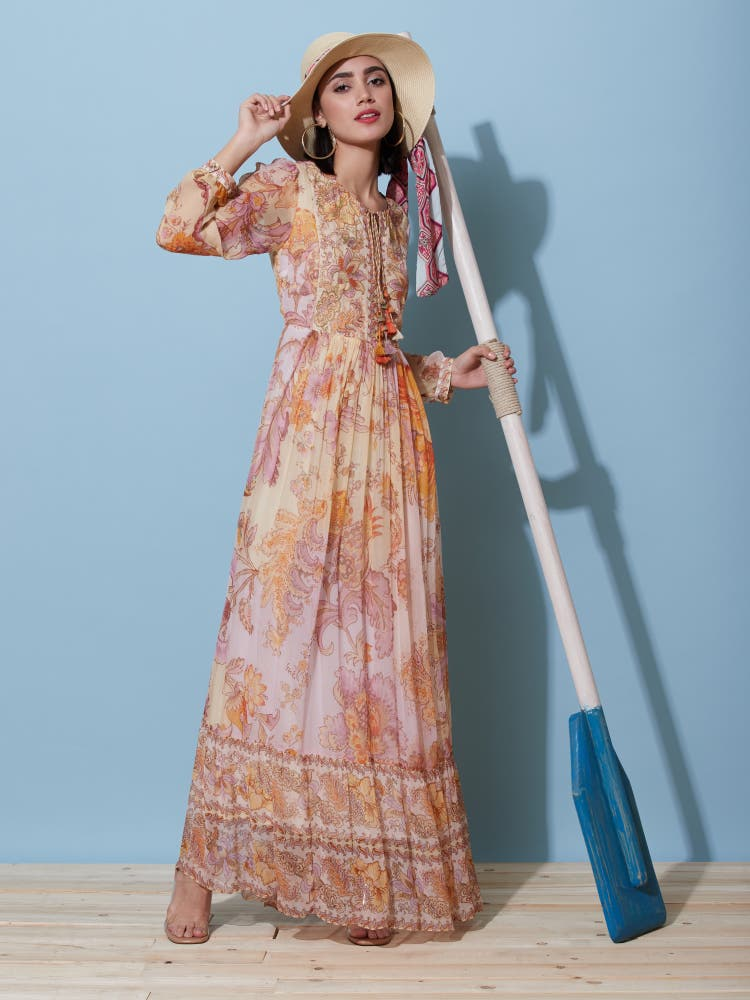 Lilac Floral Print Long Dress