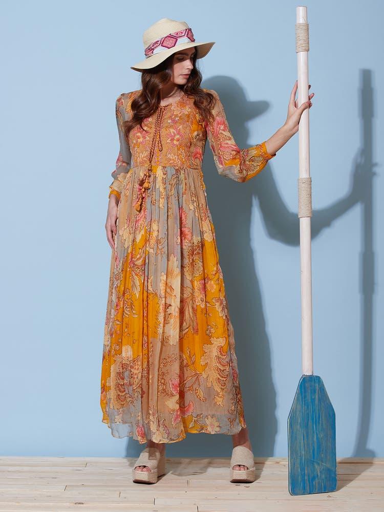 Mustard Floral Print Long Dress