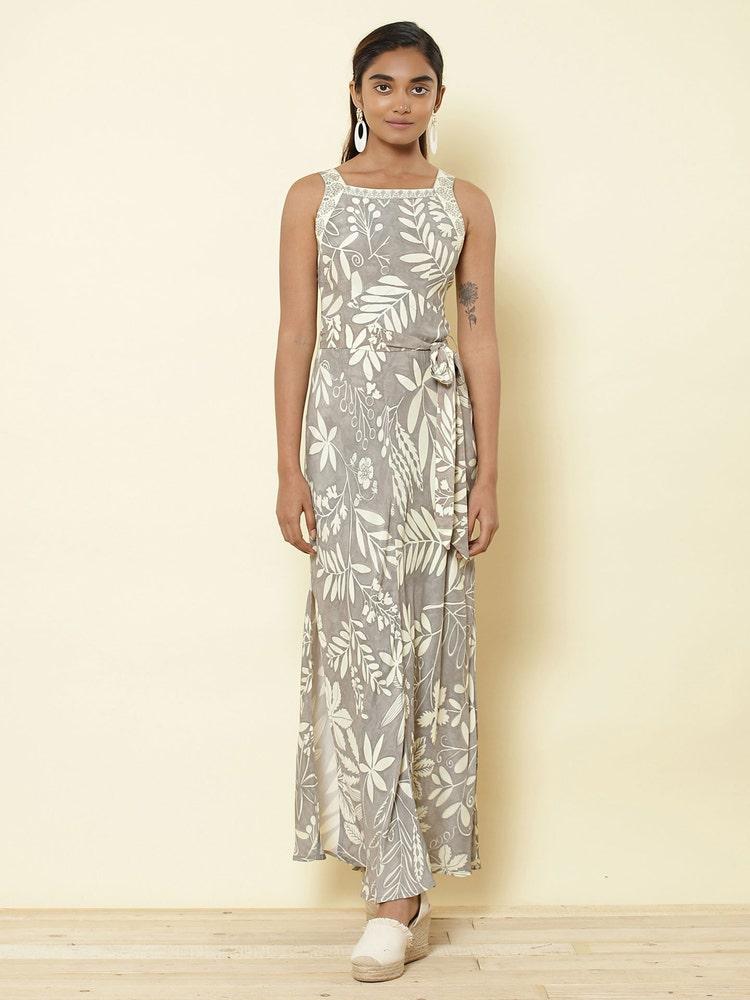 Grey Floral Printed Maxi