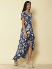 Blue Floral Printed Ruffle Dress