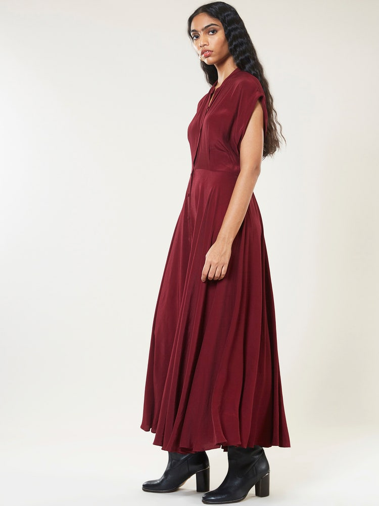 Wine Blouson Maxi Dress