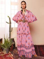 Pink & Ecru Printed Long Dress