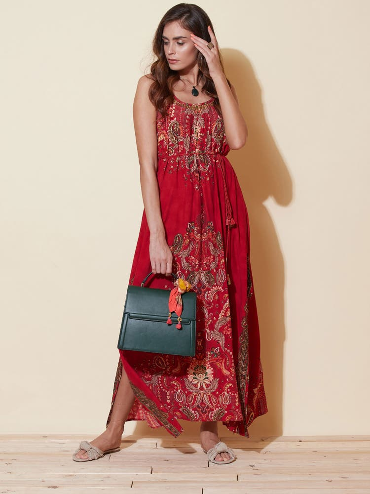 Red Floral Print Strappy Dress