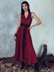Burgundy Floral Print Long Dress