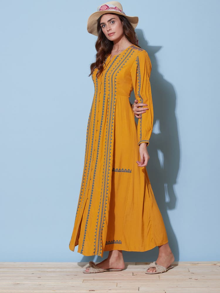 Yellow Embroidered Long Dress