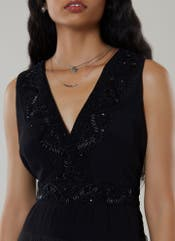 Black Embroidered Tulle Gown