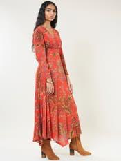 Red Floral Print Maxi Dress