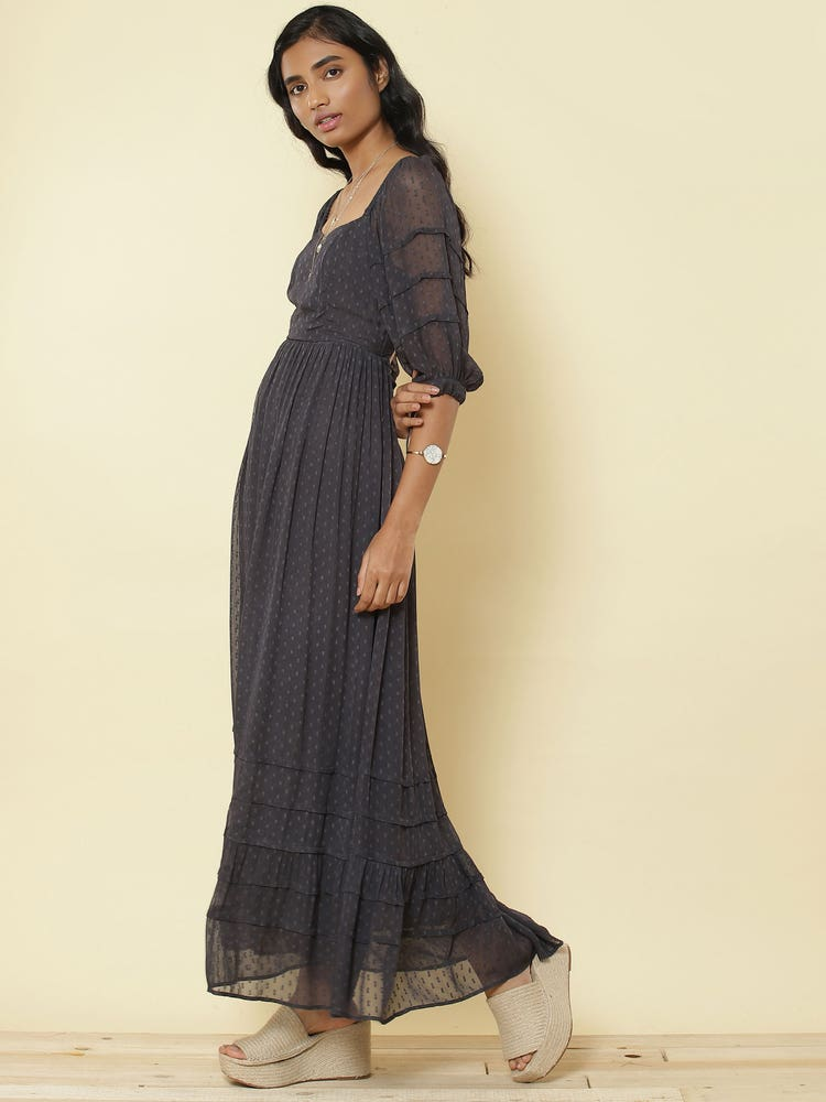 Anthra Grey Cut-Out Maxi