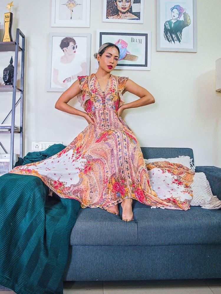 Ecru Floral Print Ruffle Long Dress