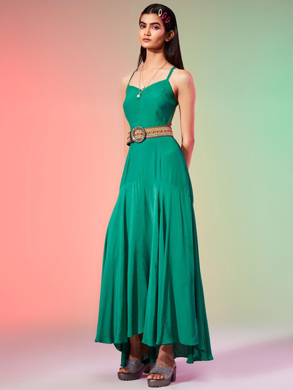 Teal Green Crepe Halter Maxi Dress