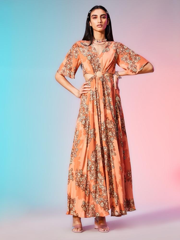 Rose Floral Print Maxi Dress