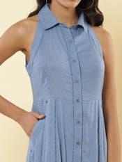 Denim Blue Cotton Shirt Dress