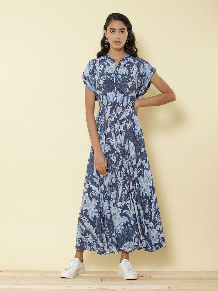 Blue Printed Maxi Dress