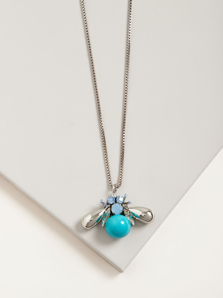 Turquoise Blue Bee Necklace