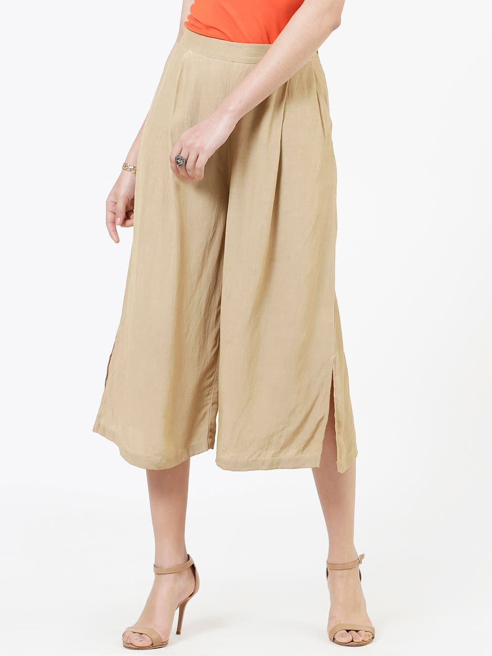 Beige Crepe Straight Trousers