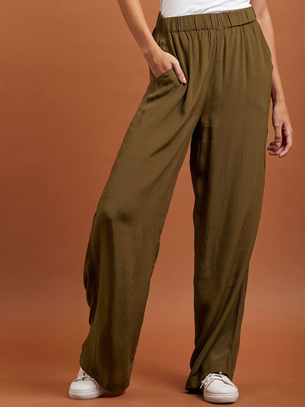 Khaki Brown Crepe Trousers