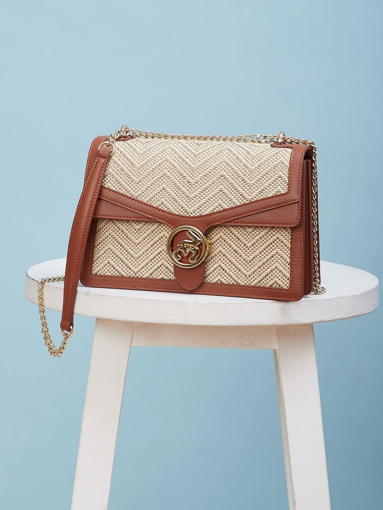 Tan Brown Textured Shoulder Bag