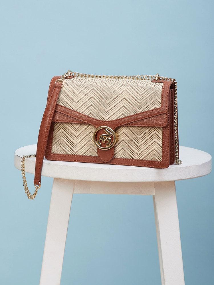 Tan Brown Textured Shoulder Bag