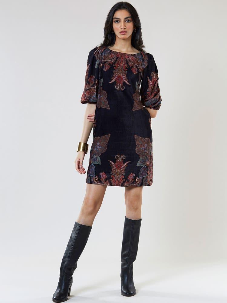 Black Floral Print Velvet Short Dress