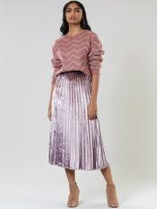 Pink Metallic Pleated Skirt