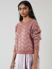 Pink Chevron Print Pullover