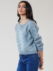 Blue Chevron Print Pullover