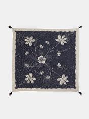 Indigo Blue Floral Print Scarf