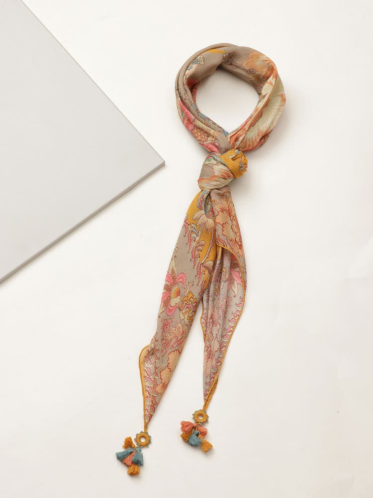 Mustard Yellow Printed Scarf