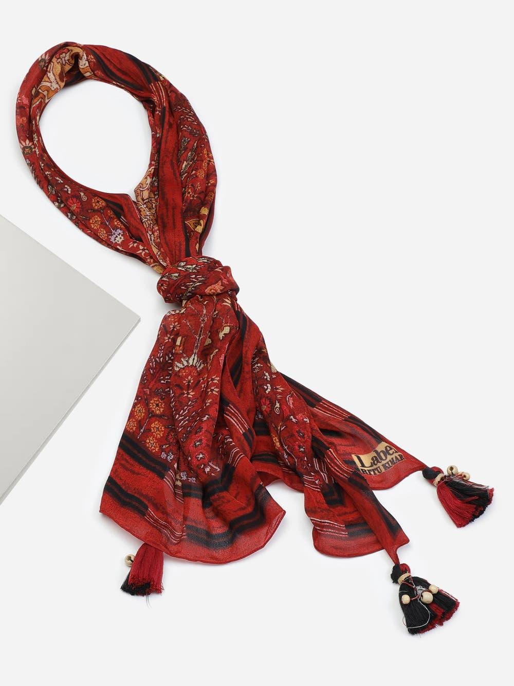 Red Printed Rectangular Scarf