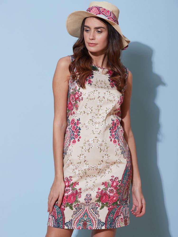 Off White & Fuchsia Floral Shift Dress