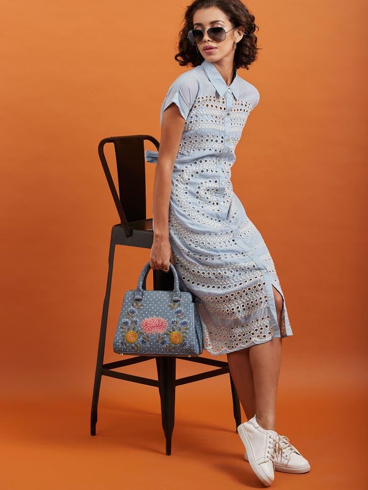 Blue Self Pattern Shirt Dress