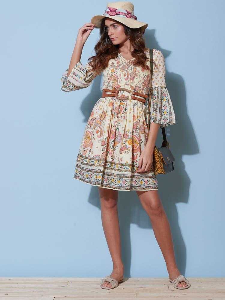 Ecru Printed Short Dress
