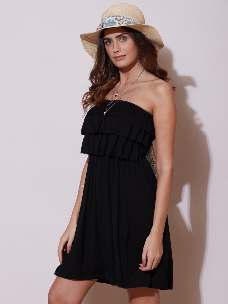 Black Ruffle Tube Short Dress