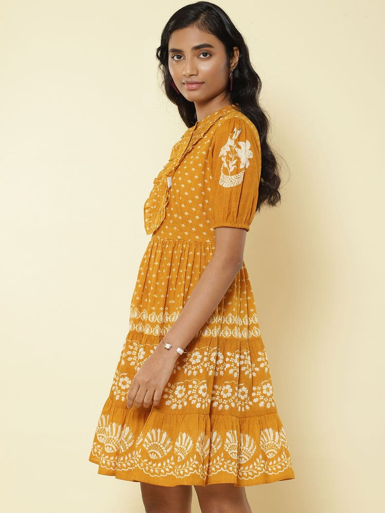 Mustard Printed Short Dress