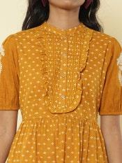 Mustard Printed Short Dress