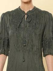 Olive Green Crinkled Short Dress