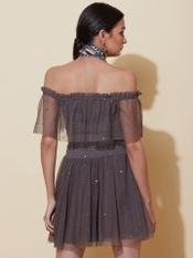 Grey Off-Shoulder Short Dress