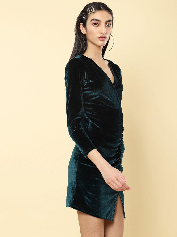 Emerald Green Bodycon Velvet Short Dress
