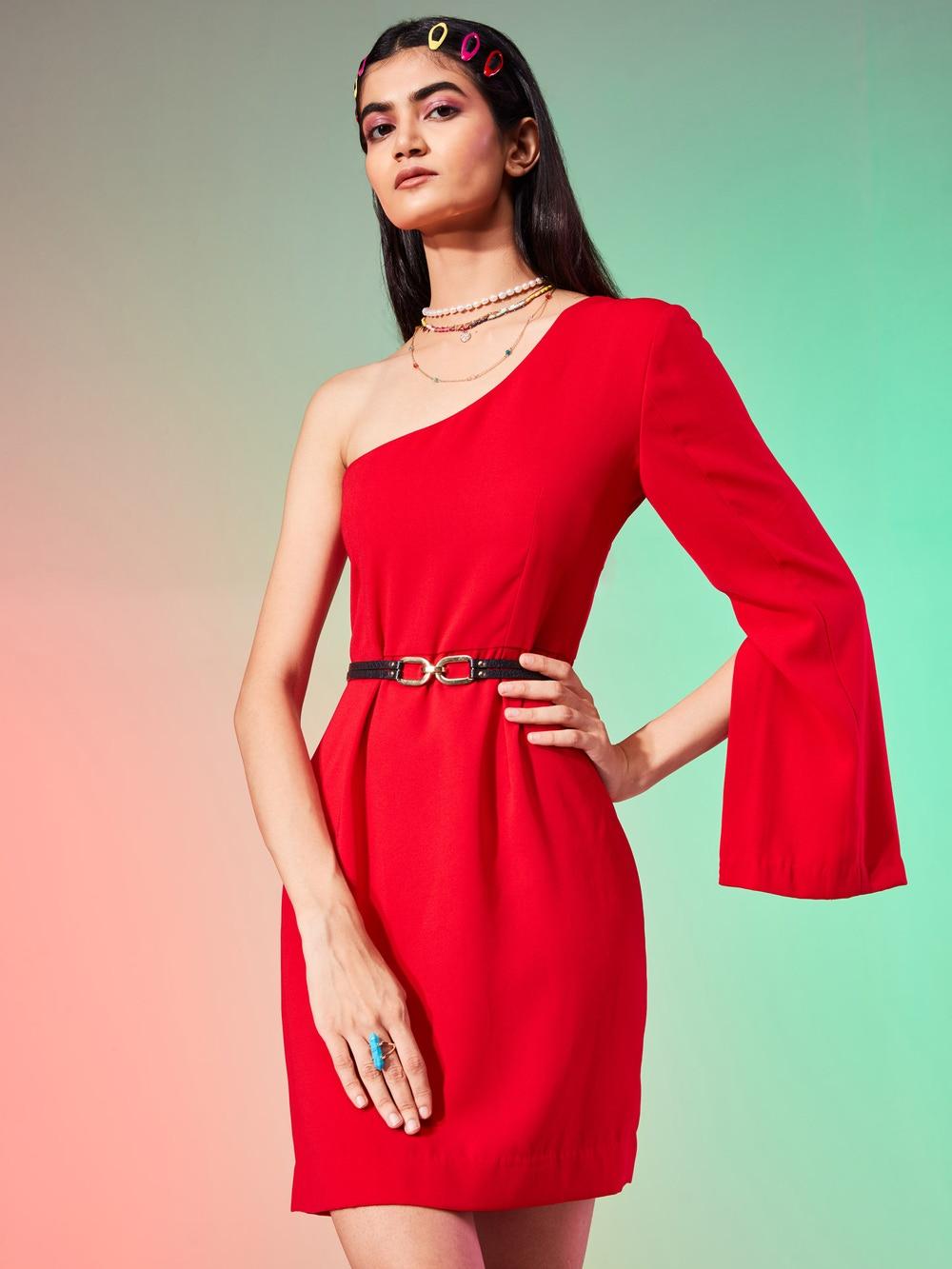 Red One-Shoulder Short Dress