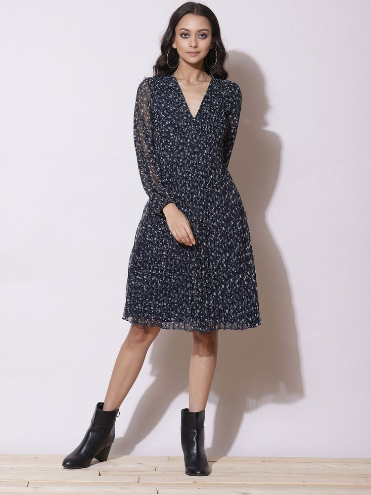 Navy Blue Printed Short Dress