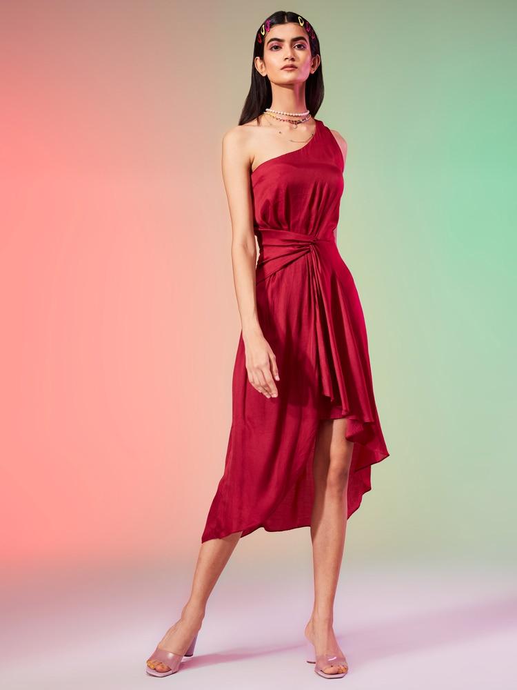 Wine One-Shoulder Short Dress