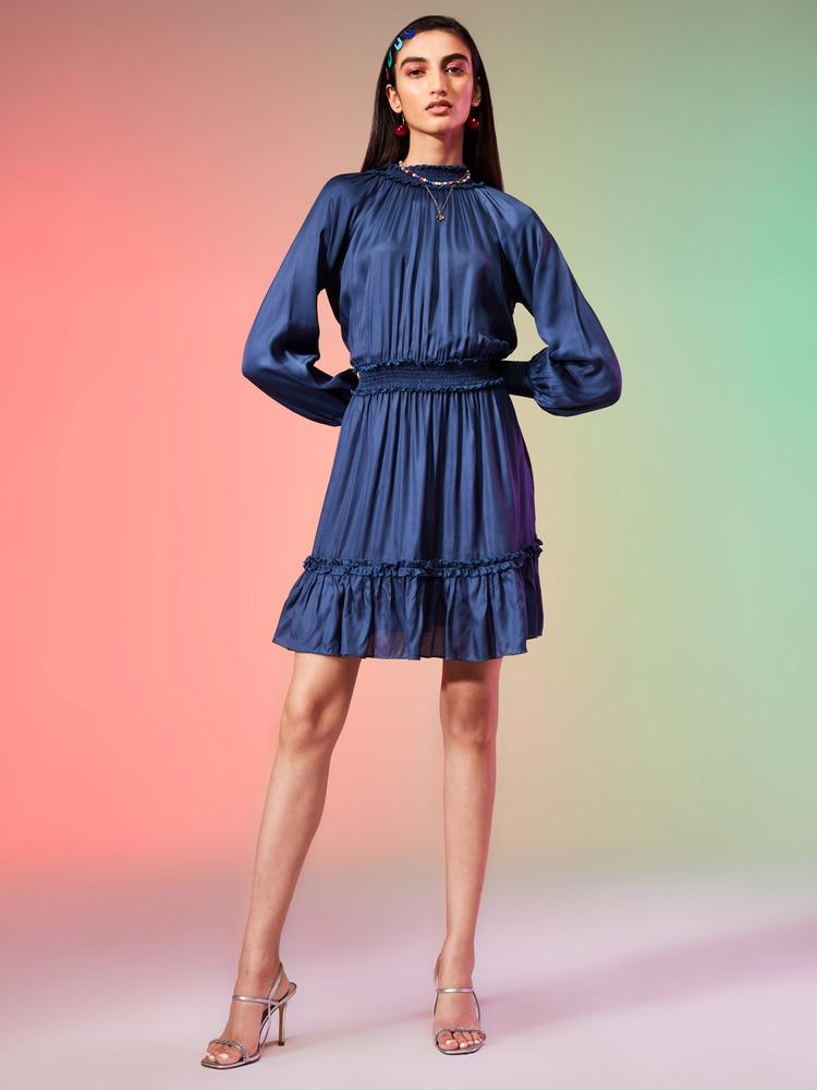 Navy Blue Blouson Short Dress