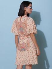 Ecru Printed Ruffle Short Dress