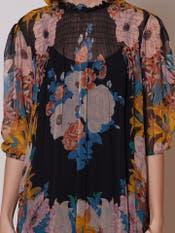 Black Floral Print Short Dress