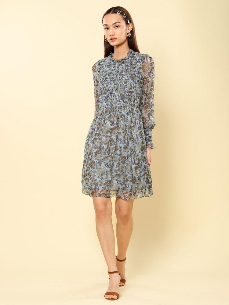 Aqua Blue Floral Print Smocked Short Dress