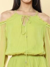 Neon Green Cold-Shoulder Short Dress