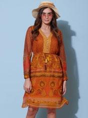 Yellow Printed Short Dress
